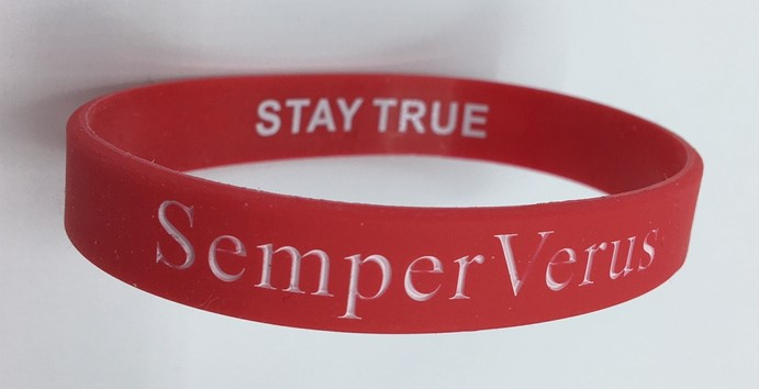SemperVerus Wristband white text on red