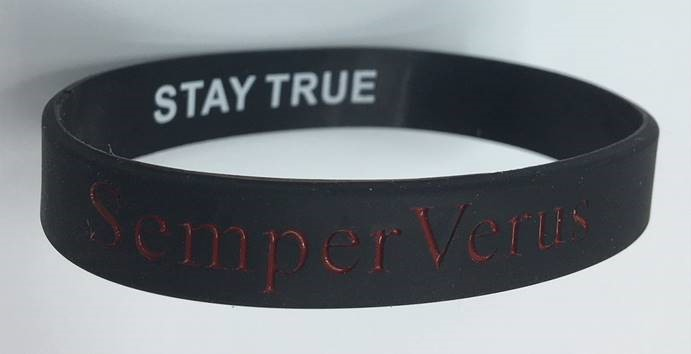SemperVerus Wristband red text on black