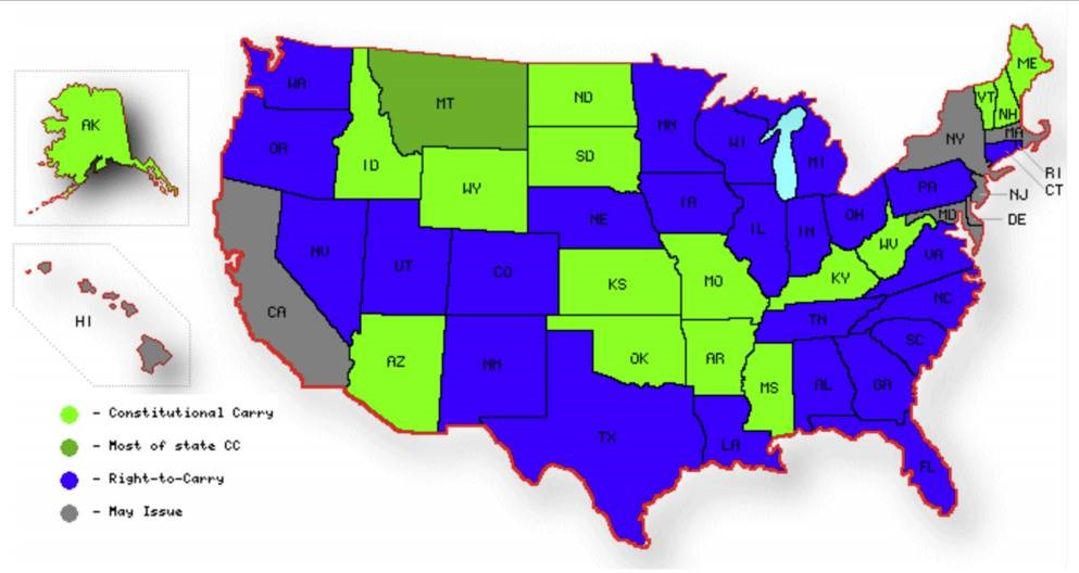 Click to enlarge this map showing how different states of America regulate concealed carry as of 2020