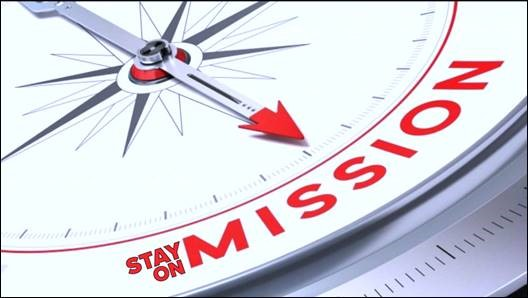 Stay on mission compass illustration